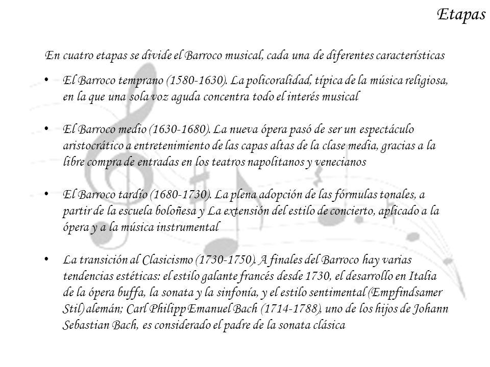 Etapas El Barroco temprano (1580-1630). La policoralidad, típica de la música religiosa, en la que una sola voz aguda concentra todo el interés musica