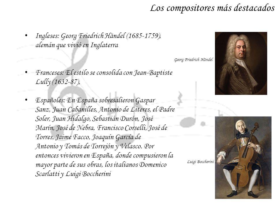 Los compositores más destacados Ingleses: Georg Friedrich Händel (1685-1759), alemán que vivió en Inglaterra Franceses: El estilo se consolida con Jea