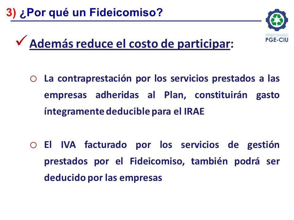 Además reduce el costo de participar: o La contraprestación por los servicios prestados a las empresas adheridas al Plan, constituirán gasto íntegrame