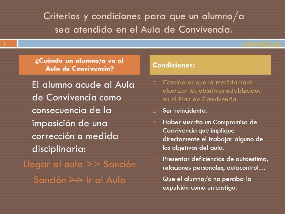 Criterios y condiciones para que un alumno/a sea atendido en el Aula de Convivencia. El alumno acude al Aula de Convivencia como consecuencia de la im