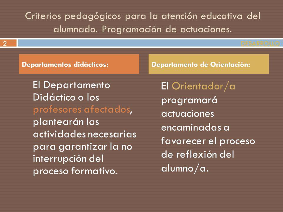 Criterios pedagógicos para la atención educativa del alumnado. Programación de actuaciones. El Departamento Didáctico o los profesores afectados, plan