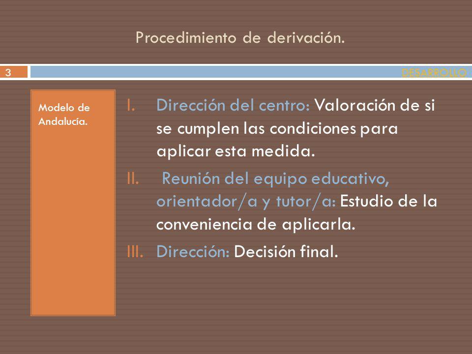 Procedimiento de derivación. Modelo de Andalucía. I.Dirección del centro: Valoración de si se cumplen las condiciones para aplicar esta medida. II. Re