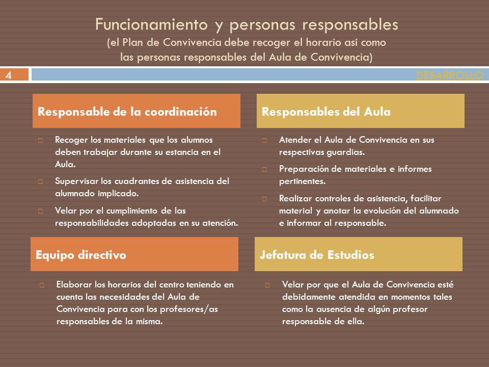 Funcionamiento y personas responsables (el Plan de Convivencia debe recoger el horario así como las personas responsables del Aula de Convivencia) Rec