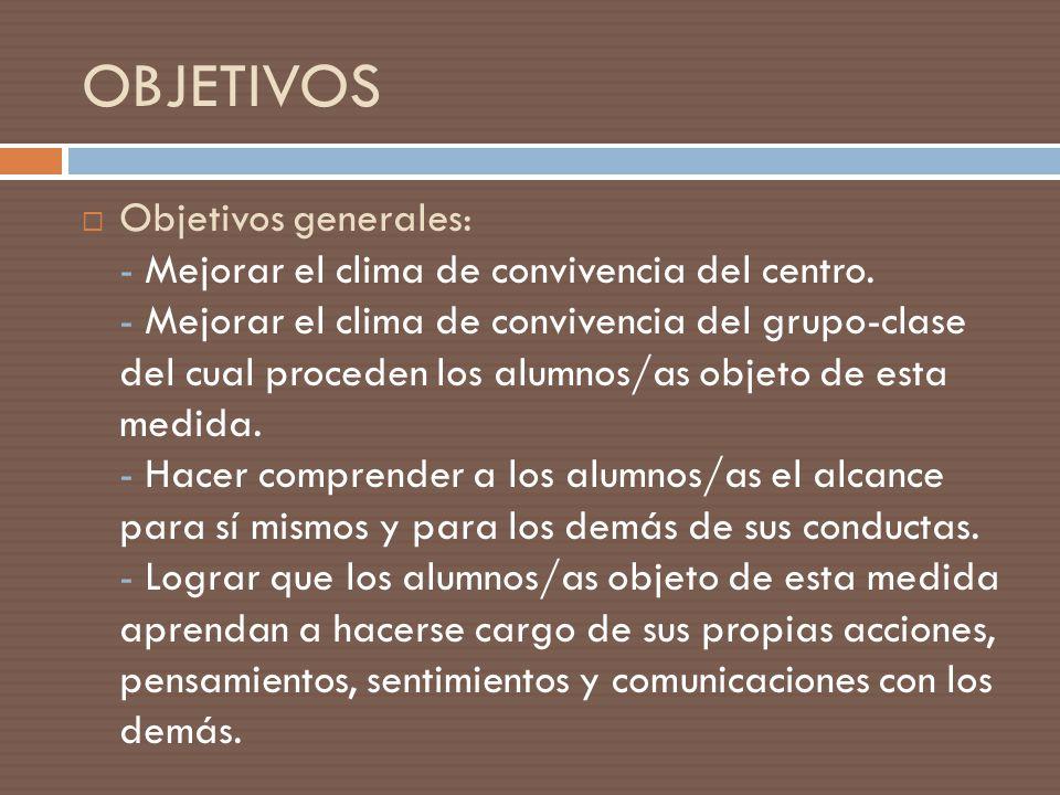 Objetivos generales: - Mejorar el clima de convivencia del centro. - Mejorar el clima de convivencia del grupo-clase del cual proceden los alumnos/as