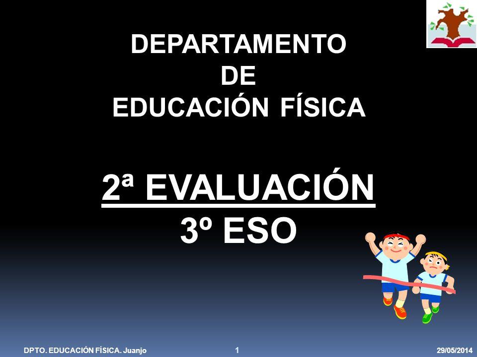 29/05/2014DPTO. EDUCACIÓN FÍSICA. Juanjo 1 DEPARTAMENTO DE EDUCACIÓN FÍSICA 2ª EVALUACIÓN 3º ESO