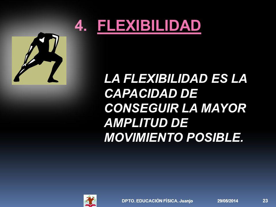 29/05/2014DPTO. EDUCACIÓN FÍSICA. Juanjo 23 4.FLEXIBILIDAD LA FLEXIBILIDAD ES LA CAPACIDAD DE CONSEGUIR LA MAYOR AMPLITUD DE MOVIMIENTO POSIBLE.