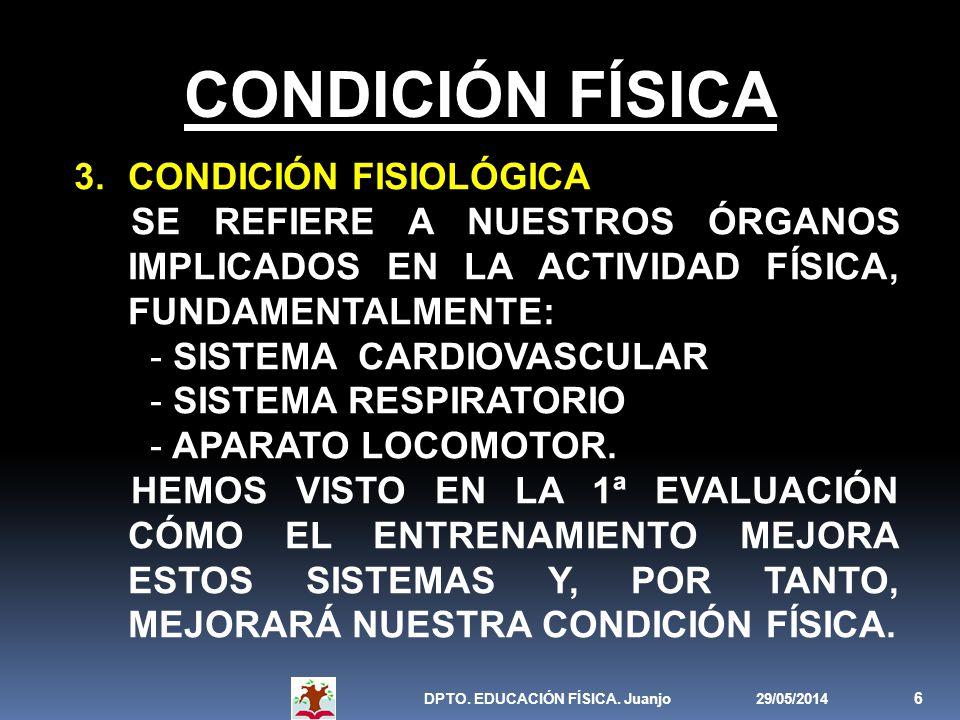 29/05/2014DPTO. EDUCACIÓN FÍSICA. Juanjo 6 CONDICIÓN FÍSICA 3.CONDICIÓN FISIOLÓGICA SE REFIERE A NUESTROS ÓRGANOS IMPLICADOS EN LA ACTIVIDAD FÍSICA, F