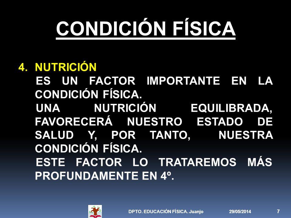 29/05/2014DPTO. EDUCACIÓN FÍSICA. Juanjo 7 CONDICIÓN FÍSICA 4.NUTRICIÓN ES UN FACTOR IMPORTANTE EN LA CONDICIÓN FÍSICA. UNA NUTRICIÓN EQUILIBRADA, FAV