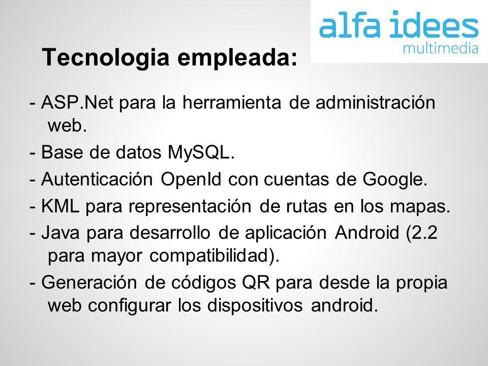 Tecnologia empleada: - ASP.Net para la herramienta de administración web. - Base de datos MySQL. - Autenticación OpenId con cuentas de Google. - KML p