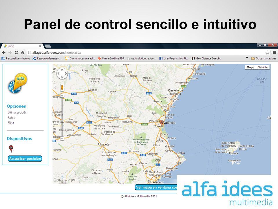 Panel de control sencillo e intuitivo