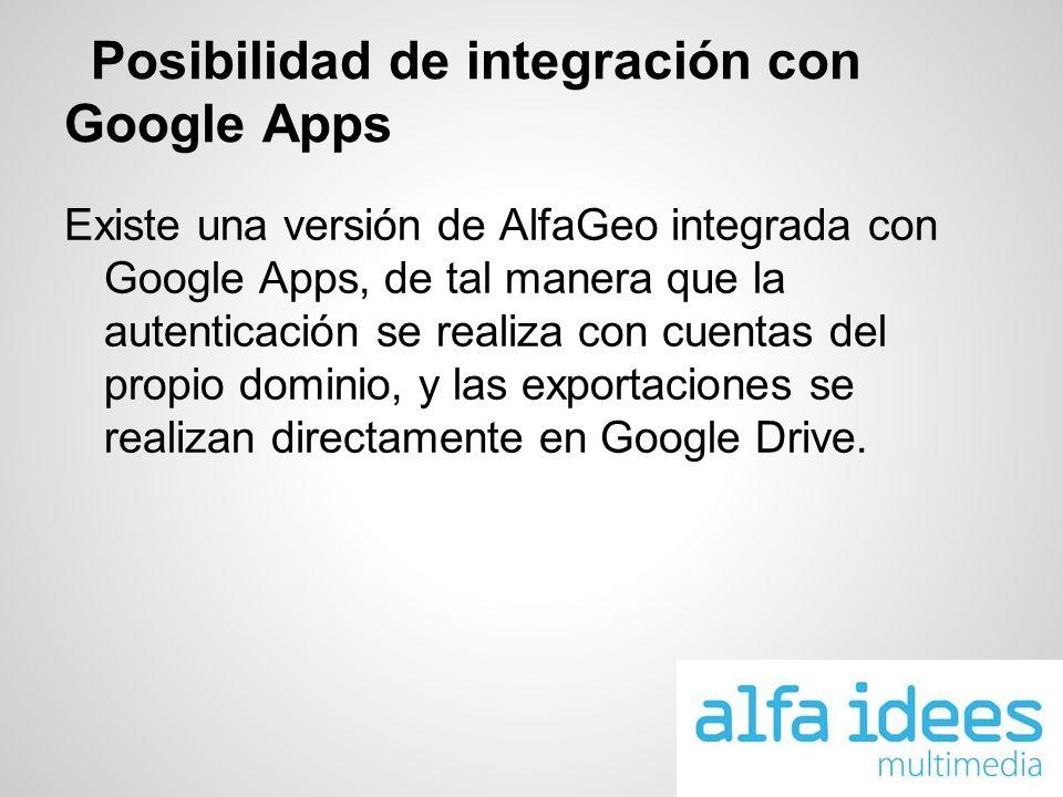 Posibilidad de integración con Google Apps Existe una versión de AlfaGeo integrada con Google Apps, de tal manera que la autenticación se realiza con cuentas del propio dominio, y las exportaciones se realizan directamente en Google Drive.