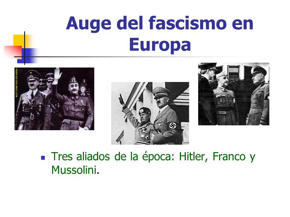 Auge del fascismo en Europa Tres aliados de la época: Hitler, Franco y Mussolini.
