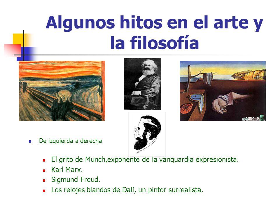 Algunos hitos en el arte y la filosofía De izquierda a derecha El grito de Munch,exponente de la vanguardia expresionista. Karl Marx. Sigmund Freud. L
