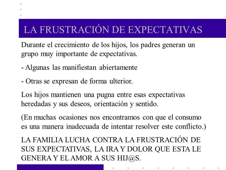 LA FRUSTRACIÓN DE EXPECTATIVAS Durante el crecimiento de los hijos, los padres generan un grupo muy importante de expectativas. - Algunas las manifies