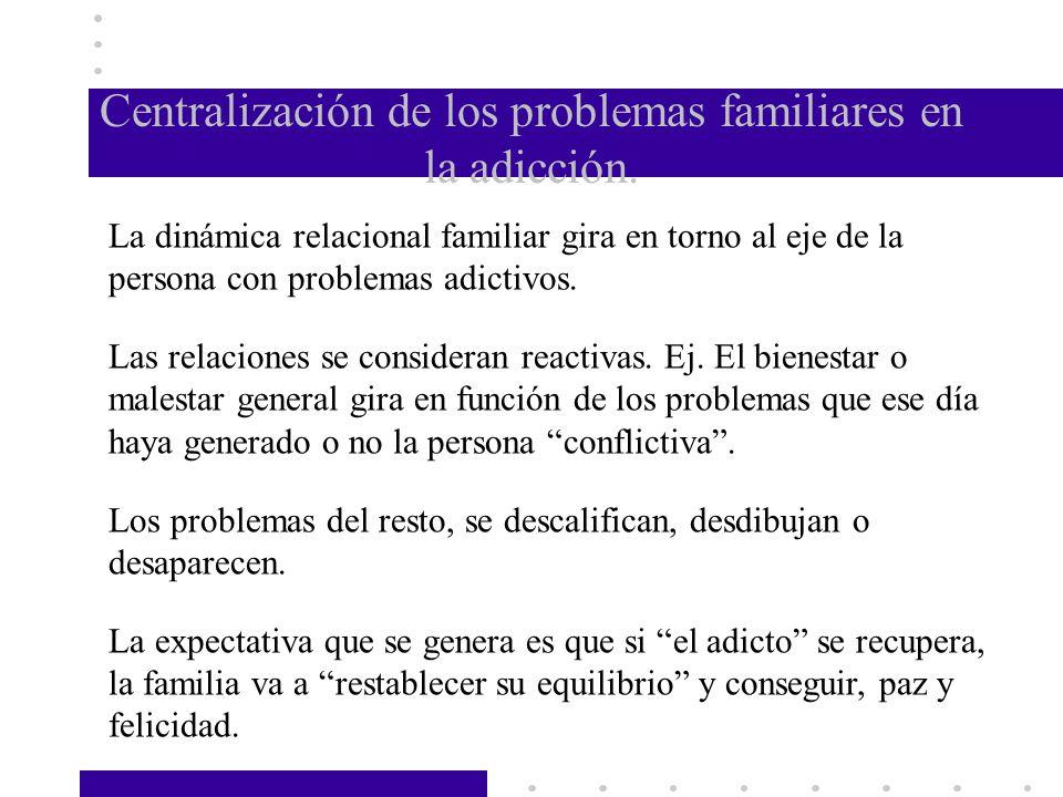 Centralización de los problemas familiares en la adicción. La dinámica relacional familiar gira en torno al eje de la persona con problemas adictivos.