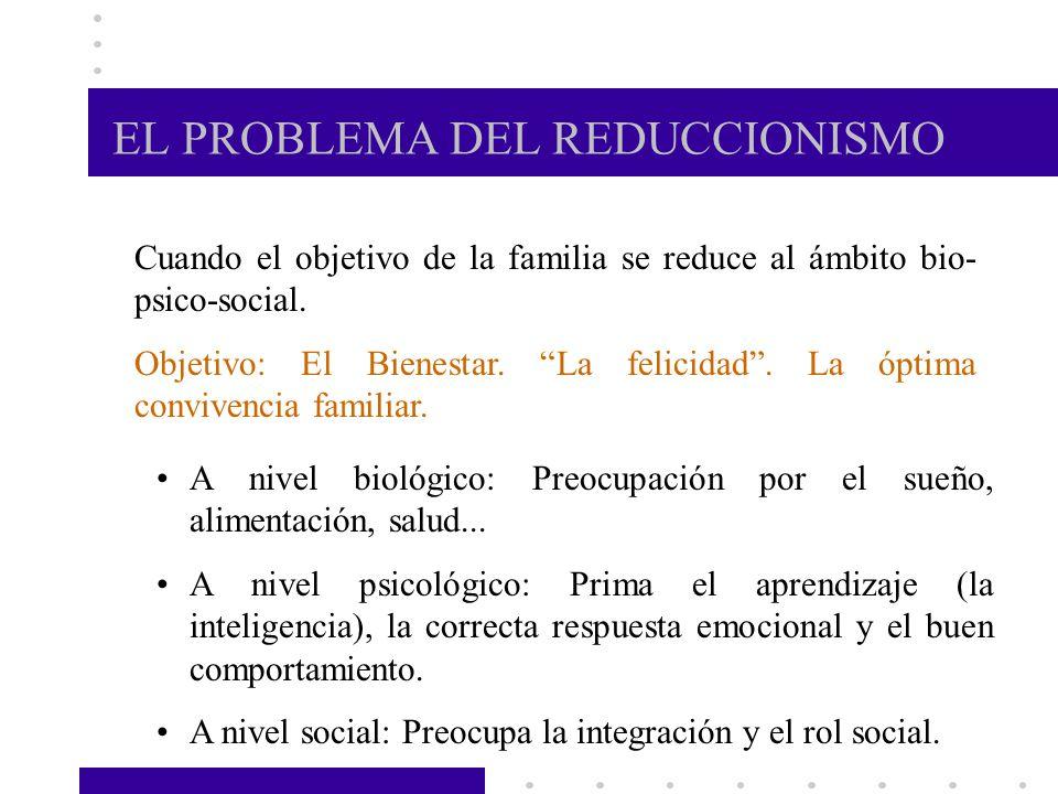 EL PROBLEMA DEL REDUCCIONISMO Cuando el objetivo de la familia se reduce al ámbito bio- psico-social. Objetivo: El Bienestar. La felicidad. La óptima