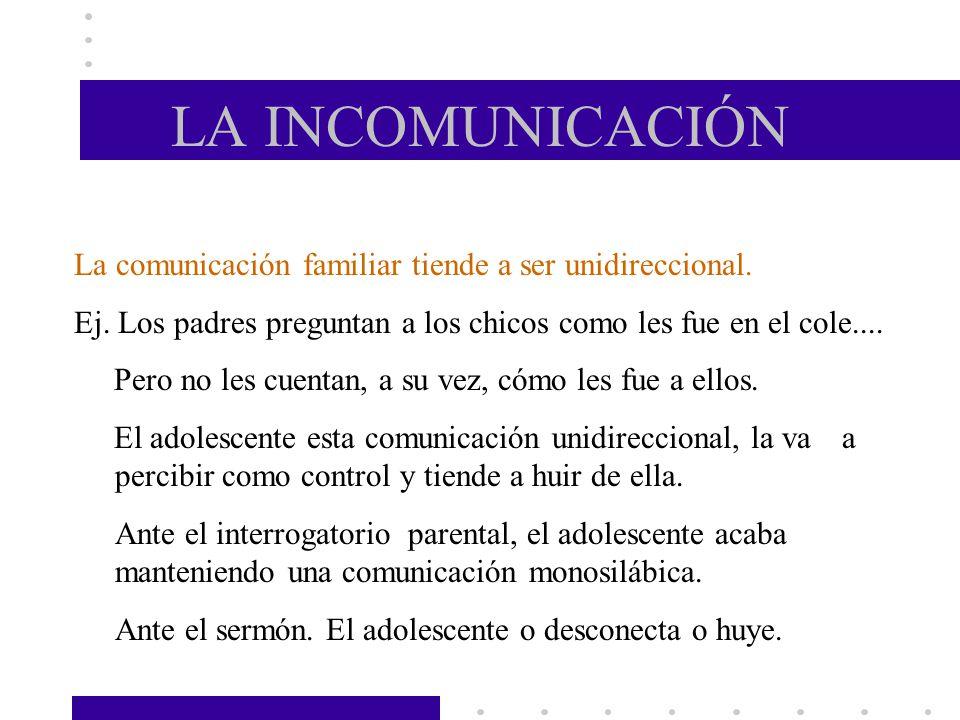 LA INCOMUNICACIÓN La comunicación familiar tiende a ser unidireccional. Ej. Los padres preguntan a los chicos como les fue en el cole.... Pero no les