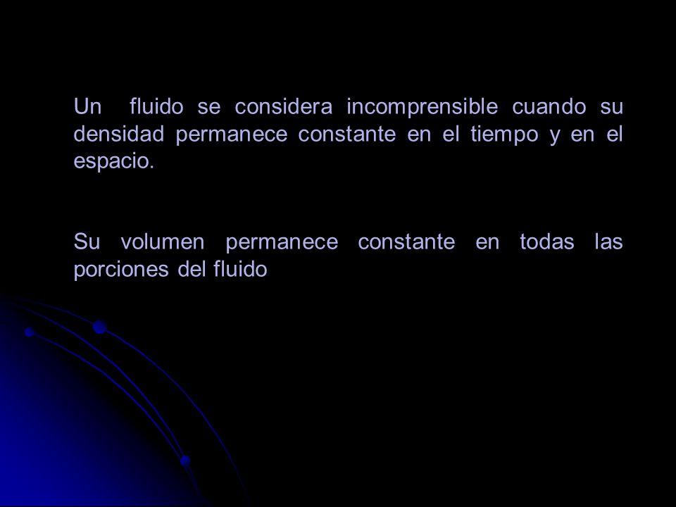 Un fluido se considera incomprensible cuando su densidad permanece constante en el tiempo y en el espacio. Su volumen permanece constante en todas las