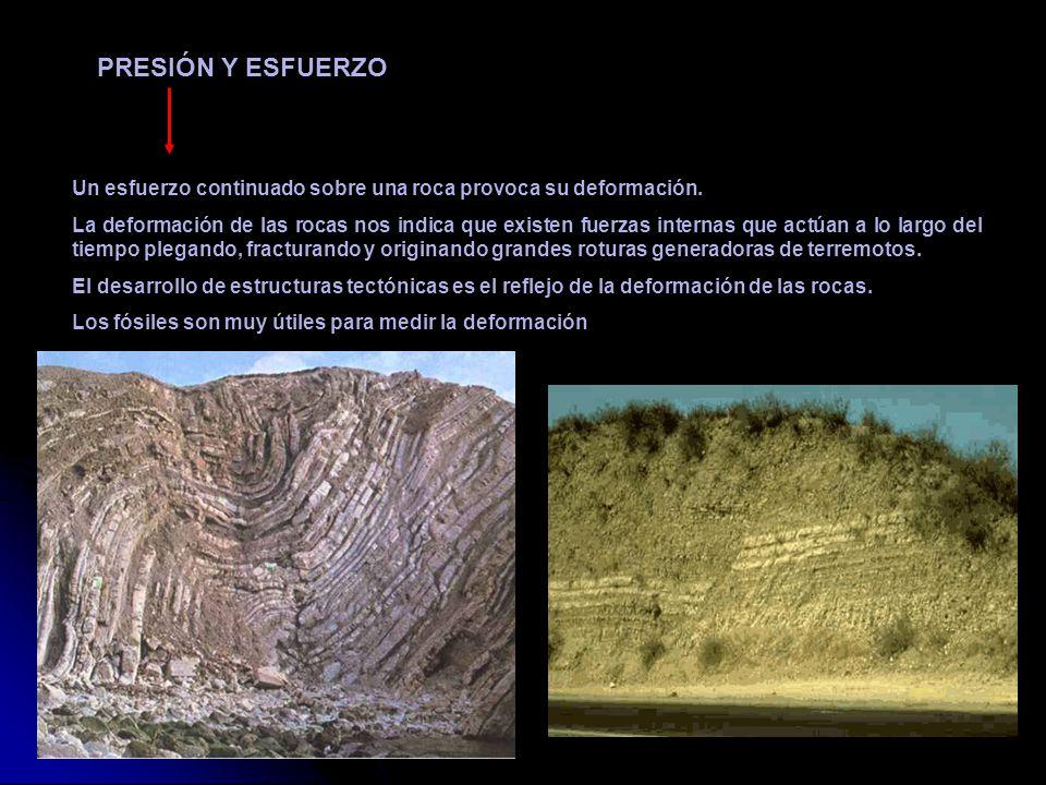 Un esfuerzo continuado sobre una roca provoca su deformación. La deformación de las rocas nos indica que existen fuerzas internas que actúan a lo larg