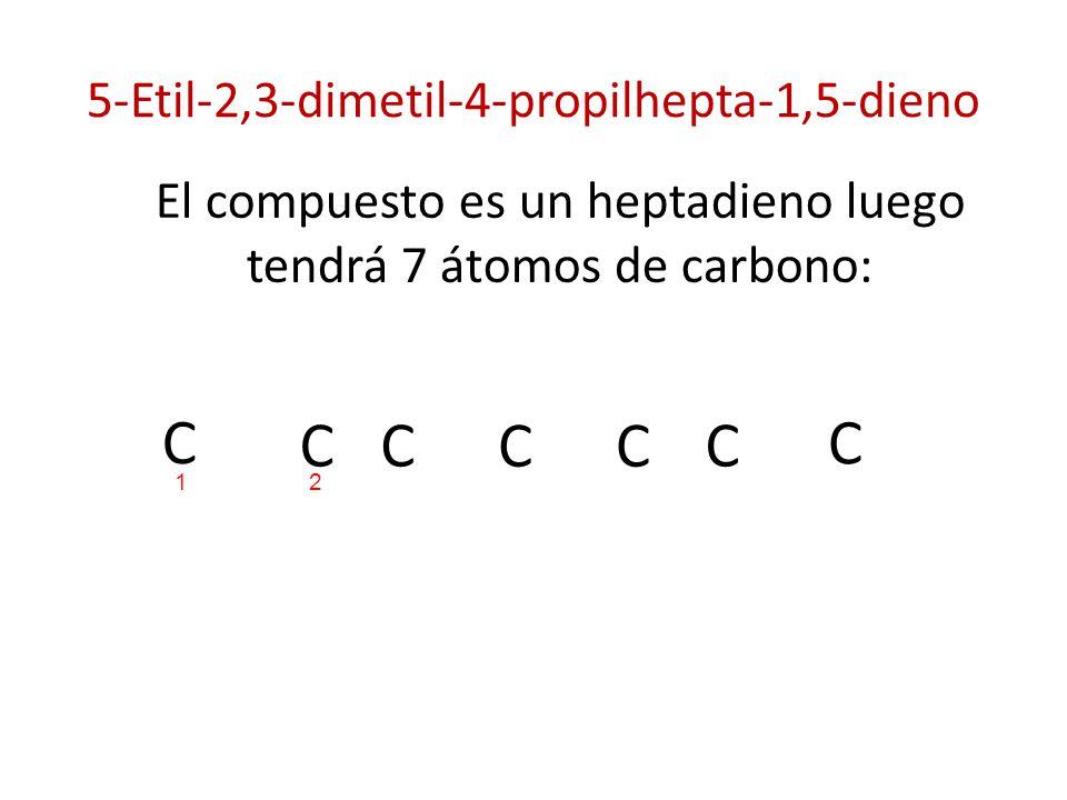 5-Etil-2,3-dimetil-4-propilhepta-1,5-dieno El compuesto es un heptadieno luego tendrá 7 átomos de carbono: C C C CC C C 21