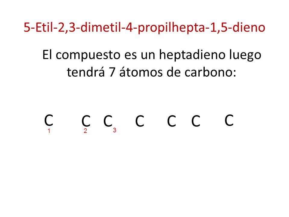 5-Etil-2,3-dimetil-4-propilhepta-1,5-dieno El compuesto es un heptadieno luego tendrá 7 átomos de carbono: C C C CC C C 21 3