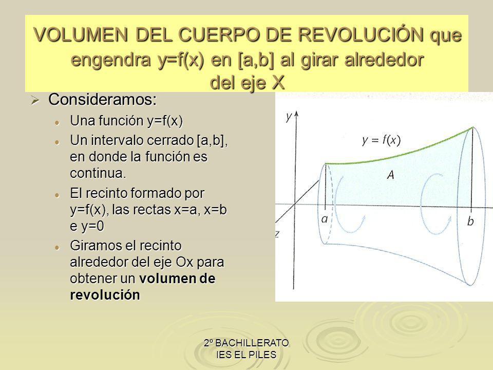 2º BACHILLERATO IES EL PILES VOLUMEN DEL CUERPO DE REVOLUCIÓN que engendra y=f(x) en [a,b] al girar alrededor del eje X Consideramos: Una función y=f(x) Un intervalo cerrado [a,b], en donde la función es continua.