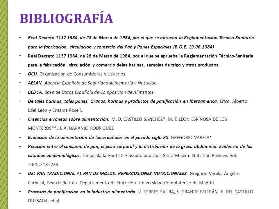 BIBLIOGRAFÍA Real Decreto 1137 1984, de 28 de Marzo de 1984, por el que se aprueba la Reglamentación Técnico-Sanitaria para la fabricación, circulació