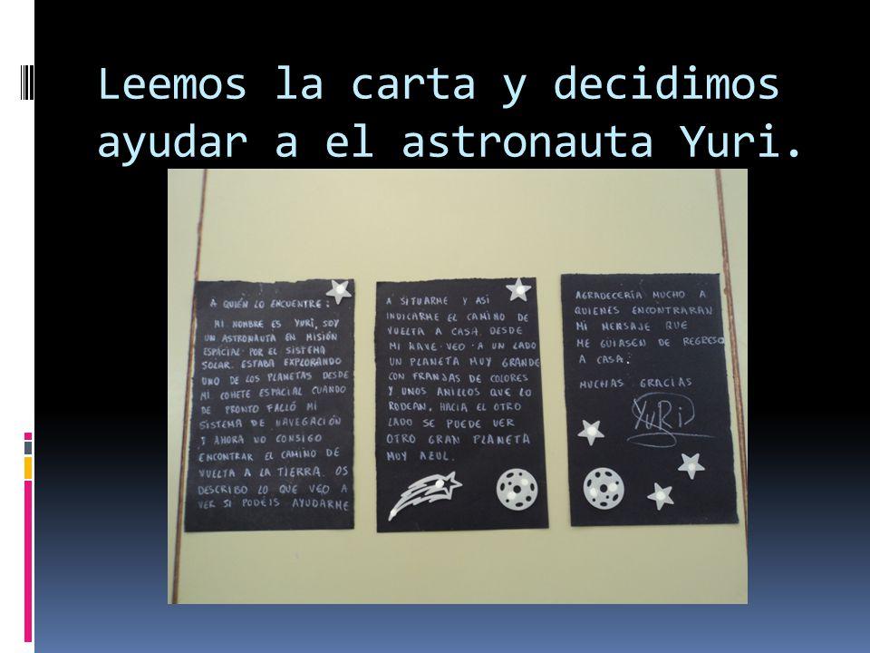Leemos la carta y decidimos ayudar a el astronauta Yuri.
