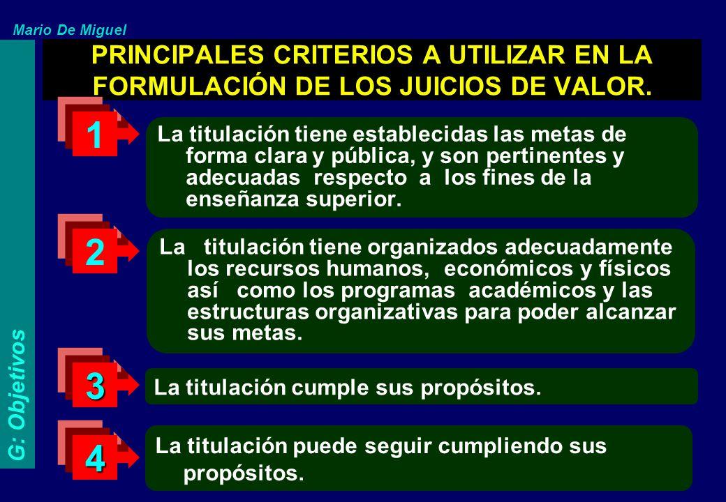PRINCIPALES CRITERIOS A UTILIZAR EN LA FORMULACIÓN DE LOS JUICIOS DE VALOR. La titulación tiene organizados adecuadamente los recursos humanos, económ