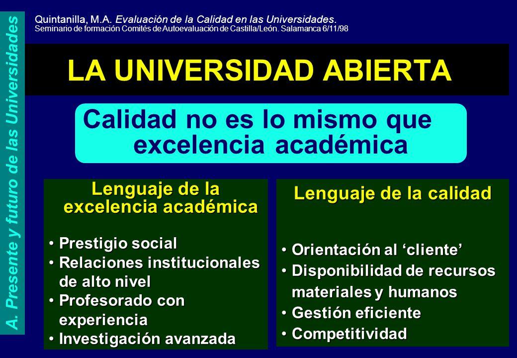 LA UNIVERSIDAD ABIERTA Calidad no es lo mismo que excelencia académica Lenguaje de la excelencia académica Prestigio socialPrestigio social Relaciones