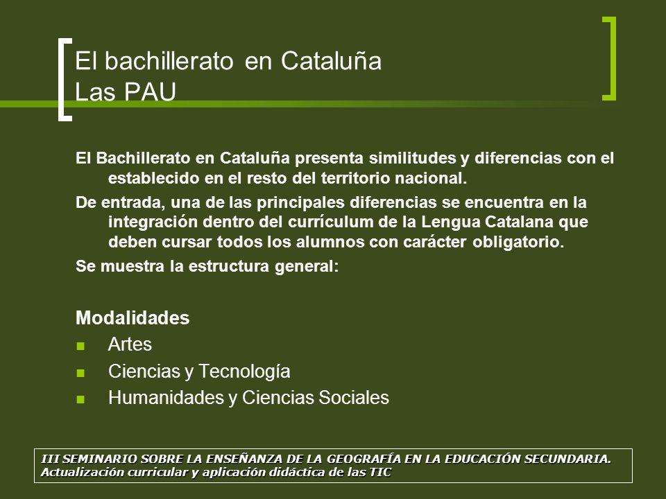 El bachillerato en Cataluña Las PAU Materias El currículum de bachillerato consta de materias comunes, materias de modalidad y materias optativas, y también del trabajo de investigación, que es obligatorio y se suele hacer a lo largo de 2º.