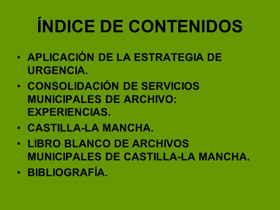 LIBRO BLANCO* DE ARCHIVOS MUNICIPALES DE CASTILLA-LA MANCHA Propuestas de dotación de archivero permanente: ALBACETE.- 1 archivero permanente para cada una de las 7 zonas propuestas.