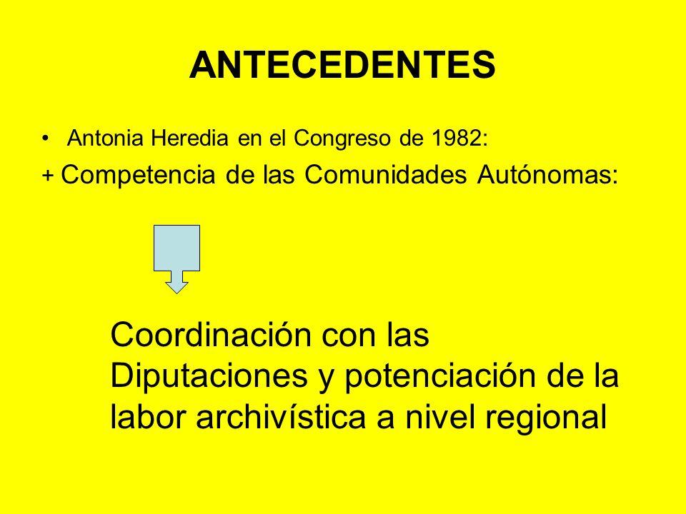BIBLIOGRAFÍA (cont.) HEREDIA HERRERA, Antonia: Definición de funciones y planificación de servicios técnicos de archivos en el ámbito estatal y en el ámbito autonómico (Ponencia presentada en el II Congreso Nacional de ANABAD: Mallorca, de 31 de octubre a 5 de noviembre de 1983).