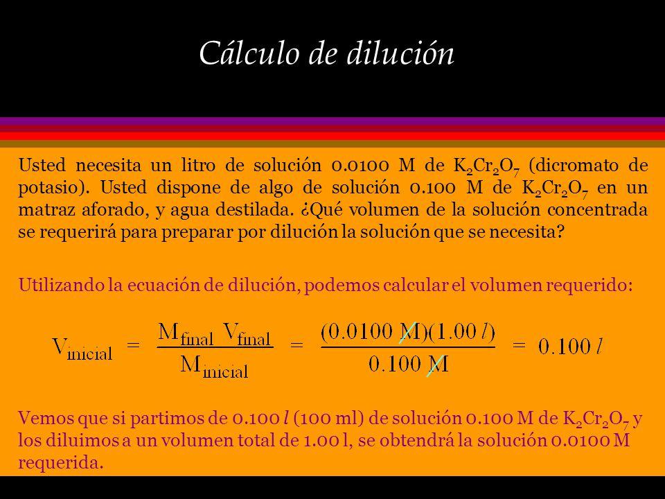 Dilución: concepto Cuando se añade solvente, el No. de moles de soluto permanece inalterado: Número de moles antes de diluir = número de moles después