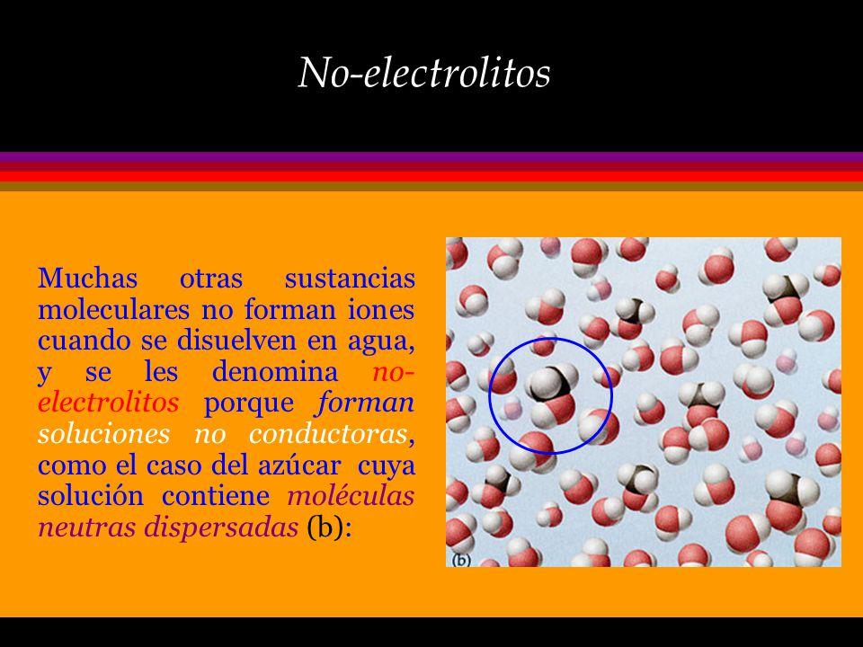 Electrolitos Cuando el NaCl (sal común) se disuelve en agua, los iones Na + y Cl - se dispersan a través de la solución, rodeandose por moléculas de a