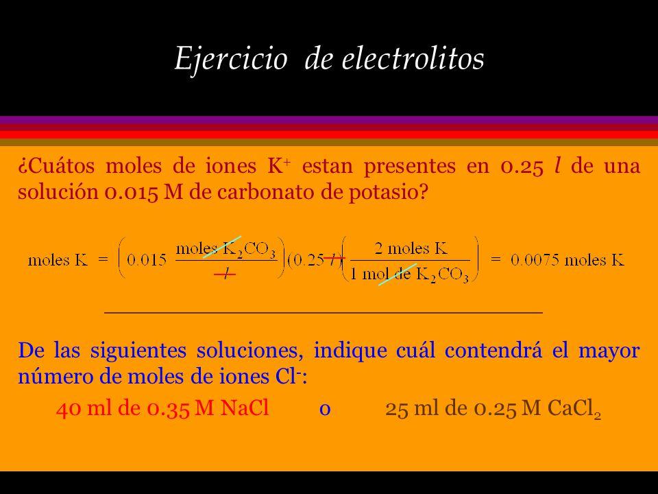 Concentración iónica ò Cuando un compuesto ionico se disuelve, las concentraciones relativas de los iones que se introducen a la solución dependen de