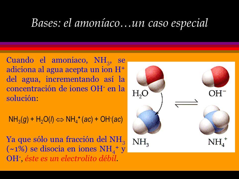 Bases: definición Sustancia que acepta (reacciona con) iones H +. Los iones hidroxilo (u oxidrilo), OH -, son bases ya que reaccionan con H + para for