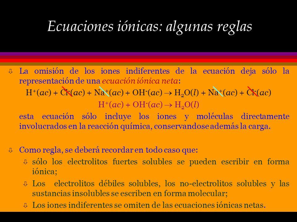 Ecuaciones iónicas ò Las ecuaciones químicas escritas como: HCl (ac) + NaOH (ac) H 2 O (l) + NaCl (ac) son denominadas moleculares, pues todas las esp