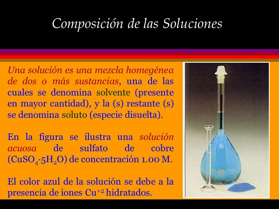 Introducción En la práctica, muchas de las reacciones químicas se llevan a cabo en solución, es decir, las sustancias reaccionantes se encuentran prev