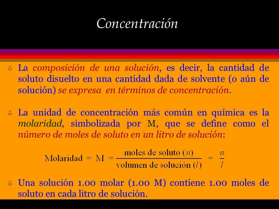 Composición de las Soluciones Una solución es una mezcla homegénea de dos o más sustancias, una de las cuales se denomina solvente (presente en mayor