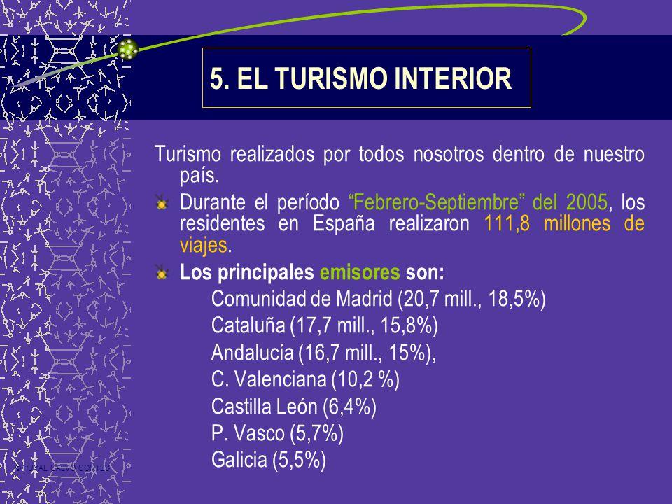 5. EL TURISMO INTERIOR Turismo realizados por todos nosotros dentro de nuestro país. Durante el período Febrero-Septiembre del 2005, los residentes en