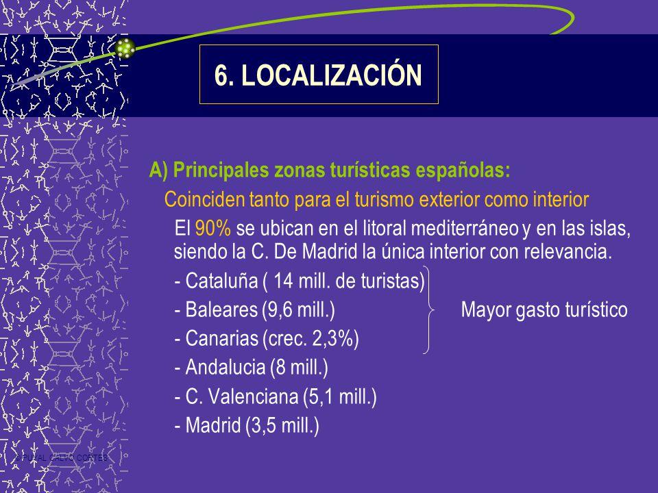 A) Principales zonas turísticas españolas: Coinciden tanto para el turismo exterior como interior El 90% se ubican en el litoral mediterráneo y en las islas, siendo la C.