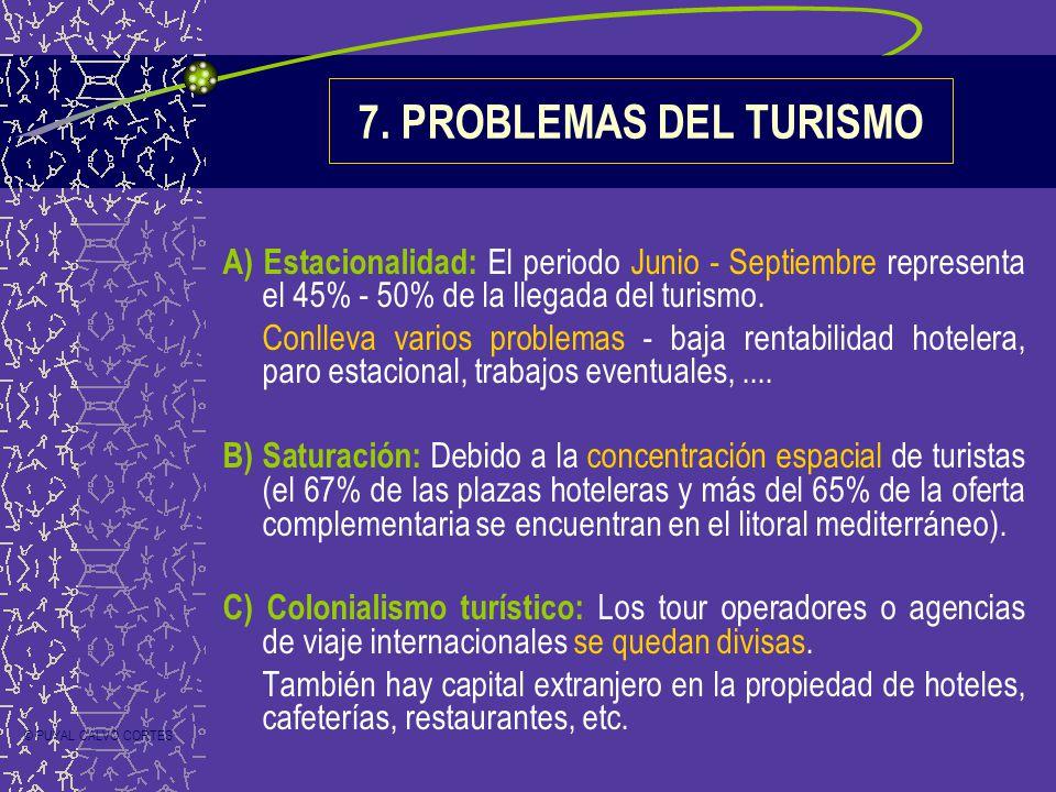 7. PROBLEMAS DEL TURISMO A) Estacionalidad: El periodo Junio - Septiembre representa el 45% - 50% de la llegada del turismo. Conlleva varios problemas