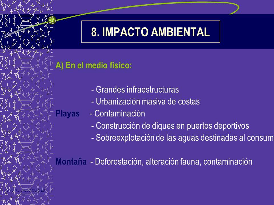 8. IMPACTO AMBIENTAL A) En el medio físico: - Grandes infraestructuras - Urbanización masiva de costas Playas - Contaminación - Construcción de diques