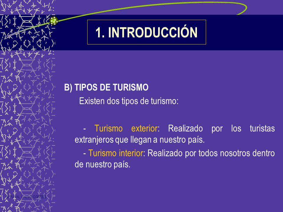 B) TIPOS DE TURISMO Existen dos tipos de turismo: - Turismo exterior: Realizado por los turistas extranjeros que llegan a nuestro país. - Turismo inte