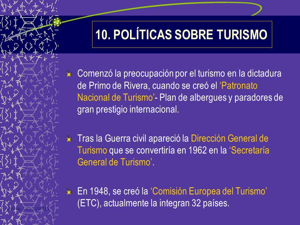 10. POLÍTICAS SOBRE TURISMO Comenzó la preocupación por el turismo en la dictadura de Primo de Rivera, cuando se creó el Patronato Nacional de Turismo
