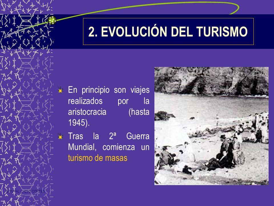 2. EVOLUCIÓN DEL TURISMO En principio son viajes realizados por la aristocracia (hasta 1945). Tras la 2ª Guerra Mundial, comienza un turismo de masas