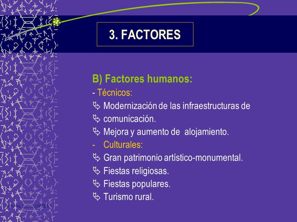 B) Factores humanos: - Técnicos: Modernización de las infraestructuras de comunicación. Mejora y aumento de alojamiento. -Culturales: Gran patrimonio