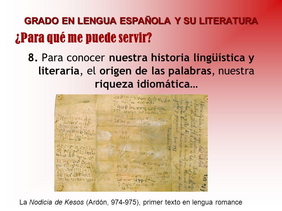 GRADO EN LENGUA ESPAÑOLA Y SU LITERATURA 8. Para conocer nuestra historia lingüística y literaria, el origen de las palabras, nuestra riqueza idiomáti