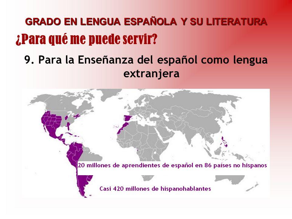GRADO EN LENGUA ESPAÑOLA Y SU LITERATURA 9. Para la Enseñanza del español como lengua extranjera ¿Para qué me puede servir?